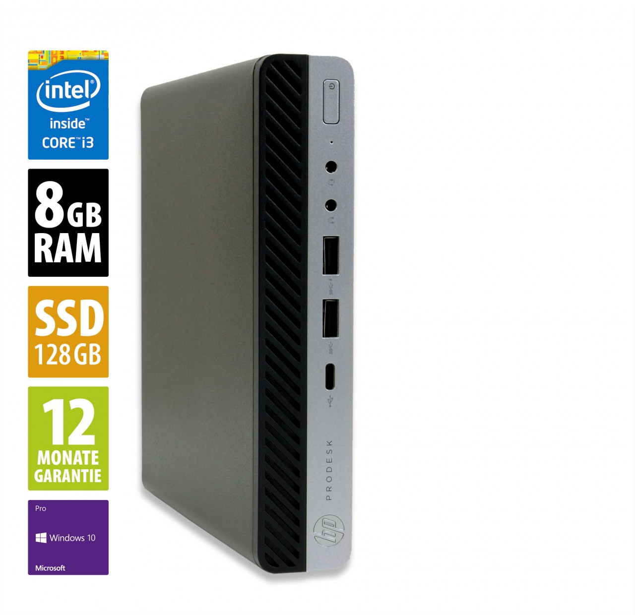 HP ProDesk 600 G4 MiniPC - Core i3-8100T @ 3,1 GHz - 8GB RAM - 128GB SSD - Win10Pro
