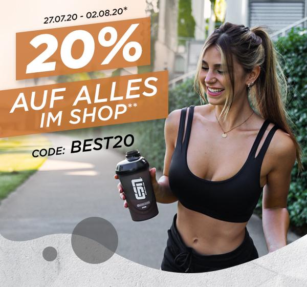 20% Rabatt auf alles** im Fitmart Shop