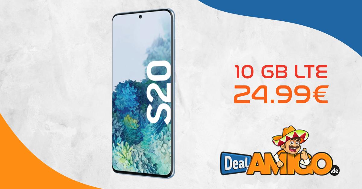 SAMSUNG Galaxy S20 mit 10 GB LTE im Telekom oder Vodafone Netz nur 24,99€
