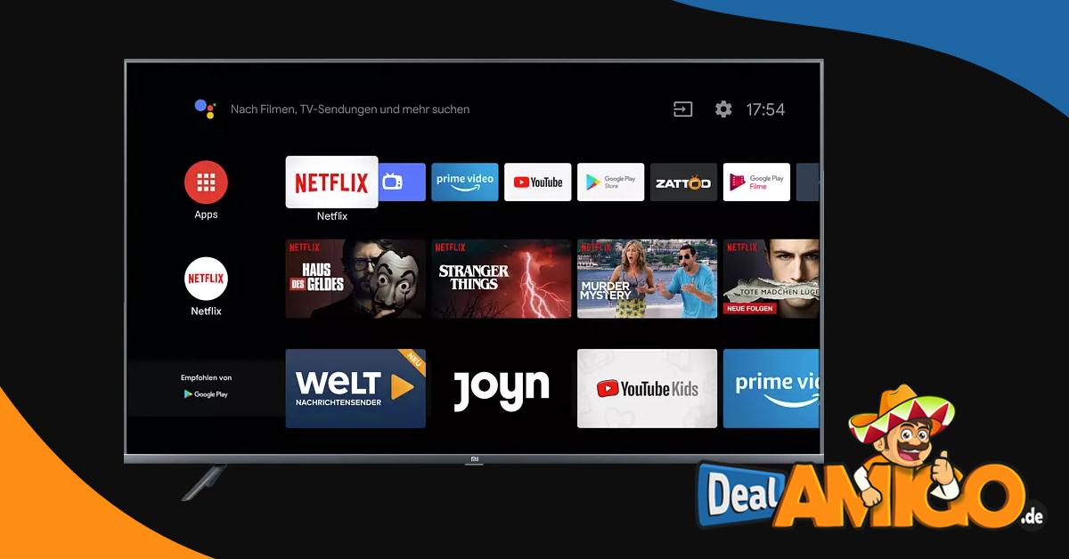 XIAOMI Smart TV 4S LED TV (Flat, 55 Zoll / 138,8 cm, UHD 4K, SMART TV, Android TV 9.0) nur 339.23€